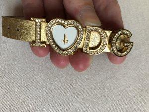 Dolce & Gabbana Orologio con cinturino di pelle oro