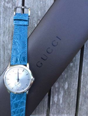 Gucci Watch With Leather Strap blue leather
