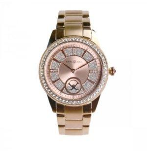 Uhr Edelstahl rosévergoldet Zirkonia 36mm