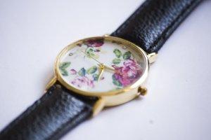 Uhr - florales Muster - schwarz / gold - NEU
