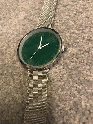 Uhr grün silberfarben – Länge 22 cm – Metallarmband – neu und ungetragen