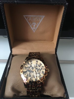 Guess Horloge met metalen riempje zwart-goud