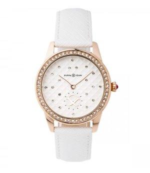 Uhr Kunstleder Weiß rosévergoldet Edelstahl 36mm Glassteine