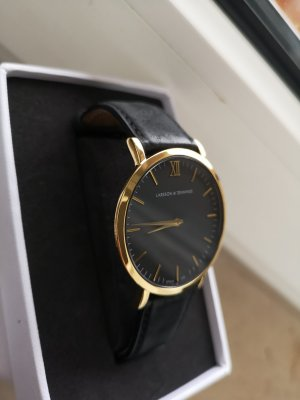 Larsson & Jennings Watch With Leather Strap black-gold-colored