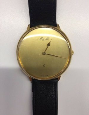 M&M Watch With Leather Strap black-gold-colored