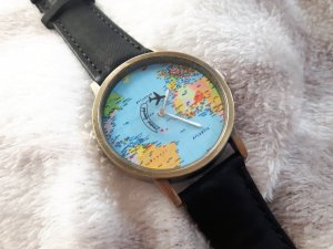 Watch With Leather Strap black-gold-colored