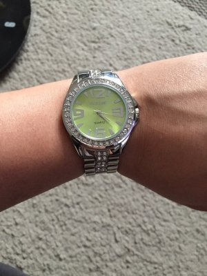 Watch With Metal Strap silver-colored-pale green