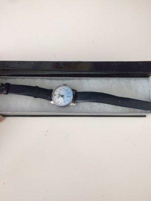 Uhr mit kyrillischer Schrift Vintage dunkelblaues Leder Armband