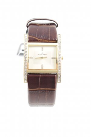 Watch With Leather Strap dark brown-gold-colored extravagant style