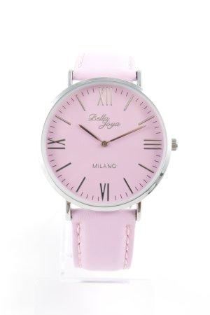 Montre avec bracelet en cuir rose élégant