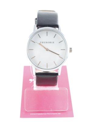 Horloge met lederen riempje zwart-zilver klassieke stijl