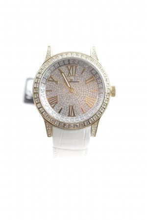 Watch With Leather Strap white-gold-colored extravagant style