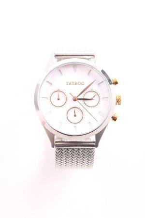 Reloj con pulsera metálica color plata-color oro estilo sencillo