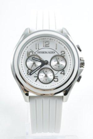Horloge met metalen riempje zilver-wit casual uitstraling
