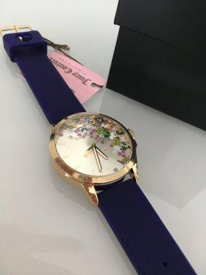 Uhr neu blau Blumen Gold Blogger jetsetter Accessoires Schmuck juicy Couture