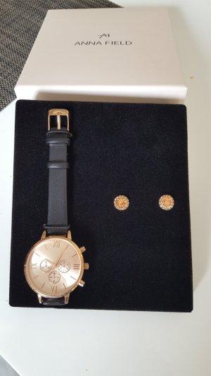 Anna Field Horloge met lederen riempje zwart-roségoud
