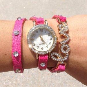 Uhr Pink mit Wickelarmband und Love Verzierung