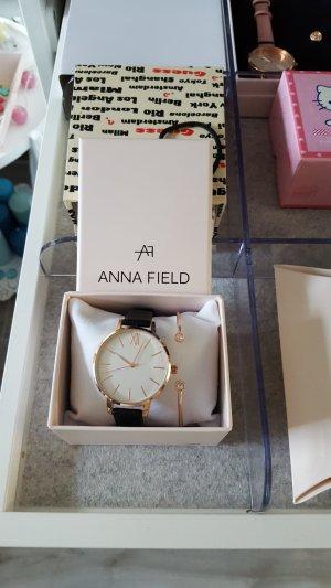 Anna Field Orologio analogico nero-color oro rosa
