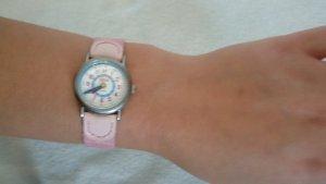 Uhr rosa pink Glitzer Leder Mesh