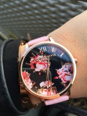Uhr rosa Roségold Blumen Rosen neu