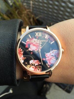 Uhr schwarz Blumen Roségold Rosen neu