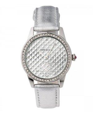 Uhr Silber Kunstlederband Glassteine 36mm Edelstein