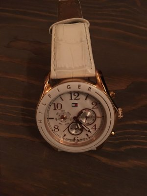 Tommy Hilfiger Watch With Leather Strap white-gold-colored