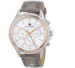 Tommy Hilfiger Horloge met lederen riempje lichtgrijs