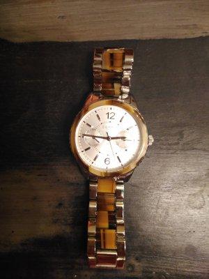 Esprit Horloge met metalen riempje zilver-bruin