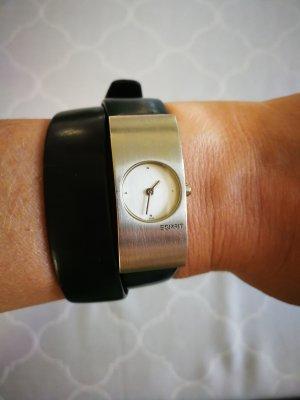 Uhr von Esprit mit schwarzem Wickel-Lederarmband
