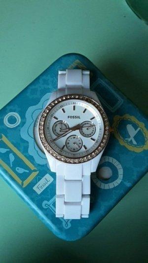 Uhr von Fossil in Weiß Gold