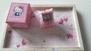 Hello kitty Reloj con pulsera de cuero rosa-rosa