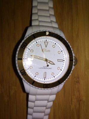 Uhr von s.Oliver, weiß-gold