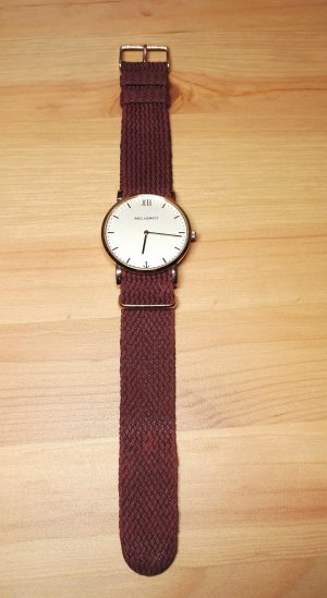 Uhrenarmband IP Roségold Perlon Dark Berry 220mm