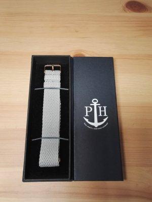 Uhrenarmband IP Roségold Perlon Grau 220mm