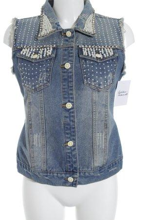 Uldahl Smanicato jeans blu fiordaliso stile da moda di strada