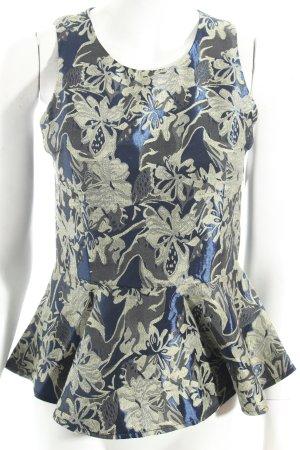 Uldahl Haut à basque bleu foncé-beige motif floral style romantique