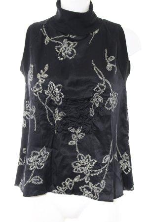 Uli Schneider Blusa de cuello alto negro elegante