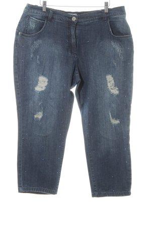 Ulla Popken Jeans a 7/8 blu scuro-azzurro stile povero