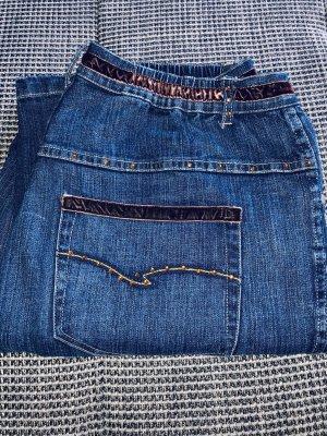 Ulla Popken Pantalón de tubo azul-azul oscuro Algodón