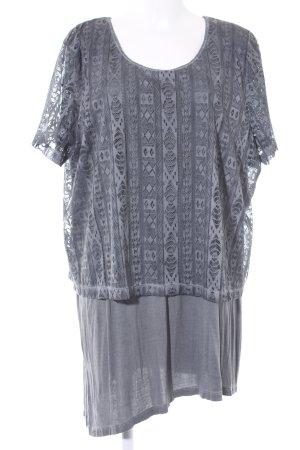 Ulla Popken Kurzarm-Bluse graublau abstraktes Muster 2in1-Optik