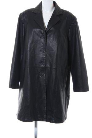 Ulla Popken Abrigo de cuero negro estilo extravagante