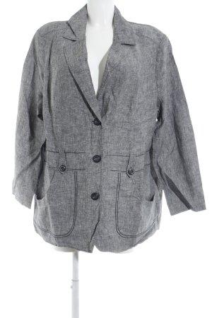 Ulla Popken Blazer largo negro-blanco Patrón de tejido look casual