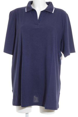 Ulla Popken Polo-Shirt dunkelblau-weiß Casual-Look