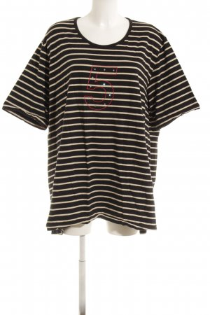 Ulla Popken Gestreept shirt donkerblauw-wit geplaatste afdruk casual uitstraling