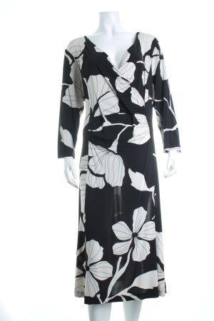 Ulla Popken Stretchkleid schwarz-weiß florales Muster Casual-Look
