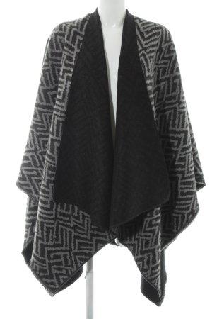 Ulla Popken Gebreide poncho zwart-grijs abstract patroon casual uitstraling