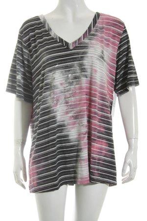 Ulla Popken T-Shirt schwarz-weiß Streifenmuster Casual-Look
