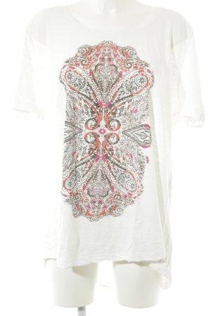 Ulla Popken Camiseta blanco estampado temático look casual