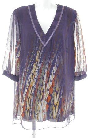 Ulla Popken Tunic Blouse dark violet floral pattern extravagant style
